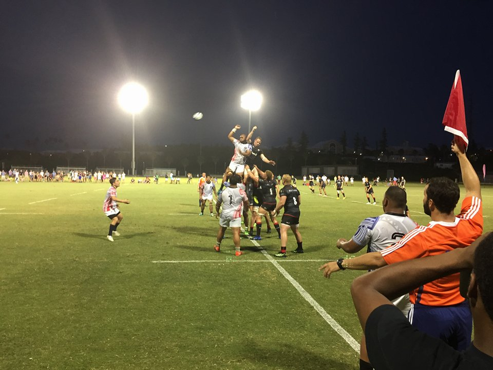 The Saracens and USA Islanders face off for the ball