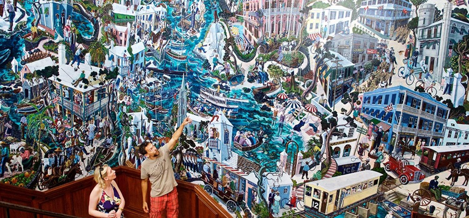 Hall of History Mural at Bermuda's National Museum